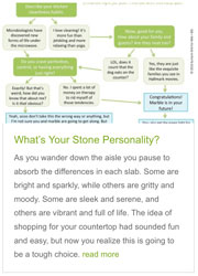 Screen shot from Stone Personality Quiz from UseNaturalStone.com