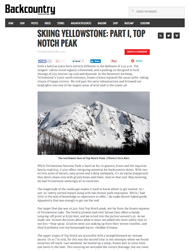 Backcountry Skiing in Yellowstone, Backcountry Magazine